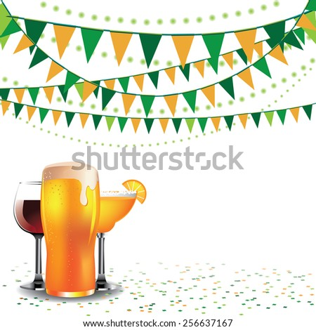Happy hour drinks bunting background for ads,  flier, signage, promotion, greeting card, blog, invitation, marketing, bar, restaurant, party, web page, wallpaper, poster, billboard, brochure, menu - stock vector