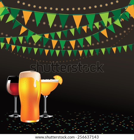 Happy hour drinks bunting background  for ads, poster, flier, signage, promotion, greeting card, blog, invitation, marketing, bar, restaurant, party - stock vector