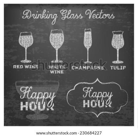 Happy Hour Hand Drawn Design on Blackboard. Buy 2 Get 1 Free - stock vector