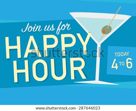 Happy hour sign with martini glass over blue background - stock vector
