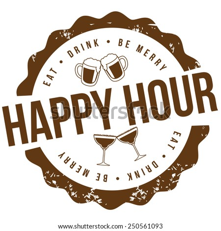 Happy hour stamp EPS 10 vector royalty free illustration for pubs, bars, nightclubs, restaurants, signage, posters, advertising, coasters, web, blogs, articles - stock vector