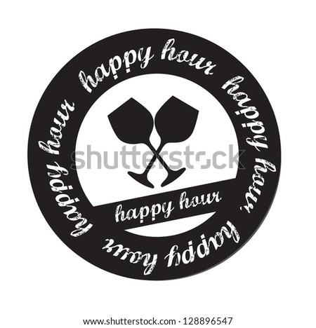 Happy hour stamp over white background vector illustration - stock vector