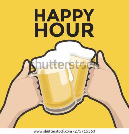 Happy hour toasting with beer - stock vector