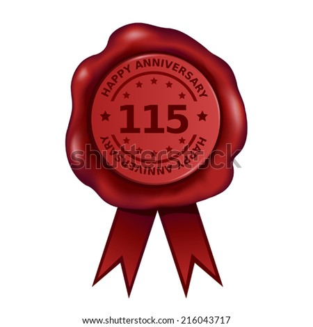 Happy Hundred Fifteenth Anniversary Wax Seal - stock vector