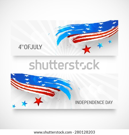 Happy independence day card United States of America. American Flag header design, vector illustration. - stock vector