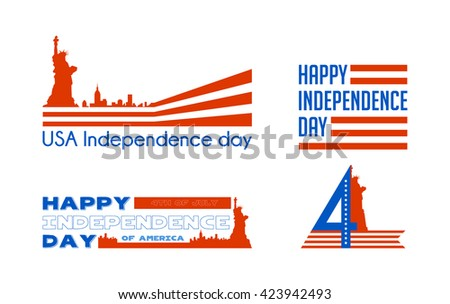 Happy independence  day card United States of America. American Flag paper design, vector illustration. - stock vector