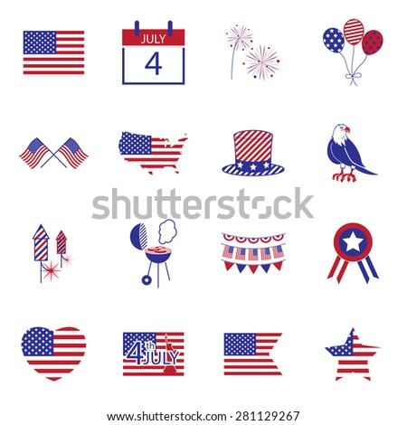 Happy independence day line icons United States of America, 4 th of July,  - stock vector