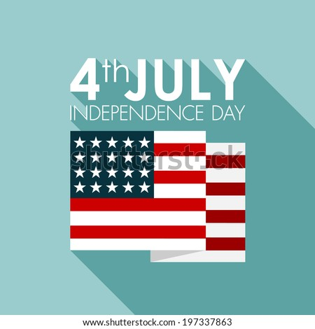 Happy independence day United States of America, 4th of July card with flat design - stock vector