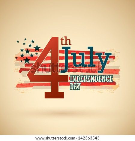 Happy independence day United States of America, 4th of July with grunge flag. - stock vector