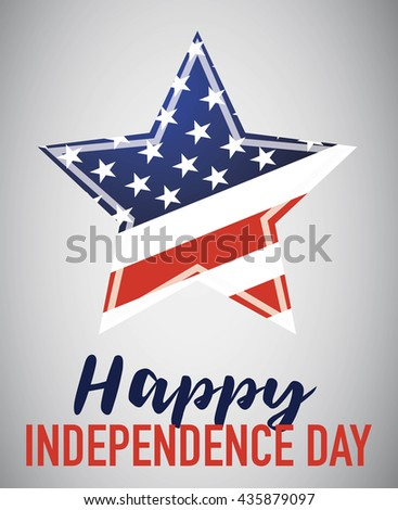 Happy Independence Day with American star isolated on gray background - stock vector