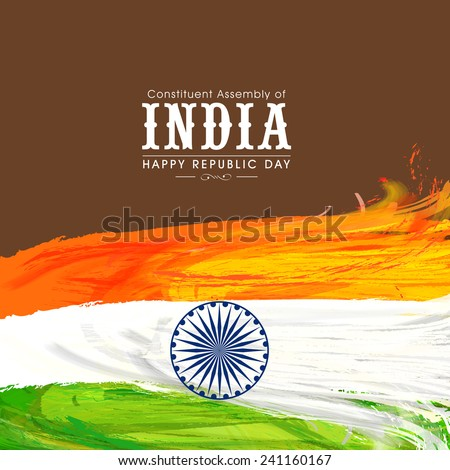 Happy Indian Republic Day celebration with national tricolor feathers and Ashoka Wheel on brown background. - stock vector