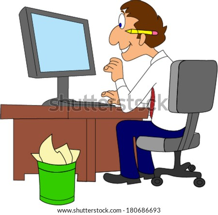 Happy IT Worker at desk working on computer - stock vector