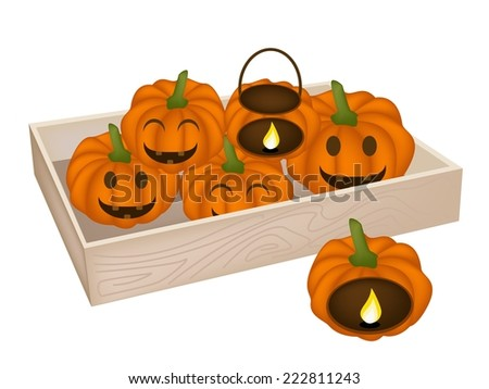 Happy Jack-o-Lantern Pumpkins and Pumpkin Baskets with Candle Light in Wooden Container Isolated on White Background, For Halloween Celebration.  - stock vector