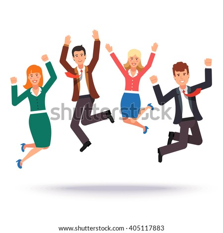 Happy jumping business people celebrating their success. Flat style vector illustration. - stock vector