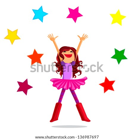 happy jumping girl with stars isolated on white background - stock vector