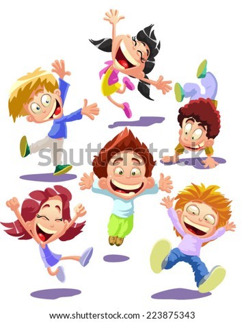 Happy jumping kids - stock vector