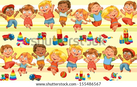 Happy jumping kids holding hands. Seamless pattern. Vector illustration - stock vector
