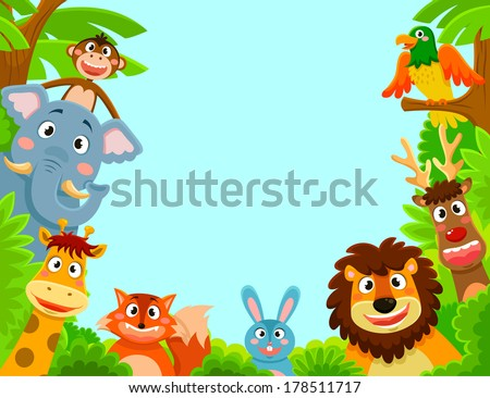 happy jungle animals creating a framed background  - stock vector