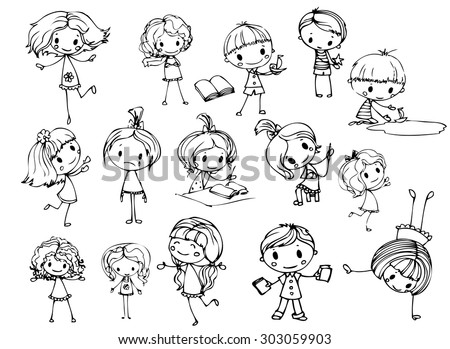 Happy kid cartoon doodle collection - stock vector