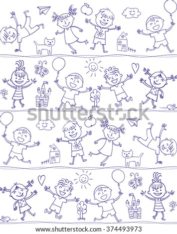 Happy kid cartoon doodle. In the style of children's drawings. Seamless pattern. Freehand drawing. Vector illustration. Isolated on white background - stock vector