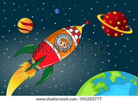 Happy kid flying in space by a cartoon space rocket - stock vector