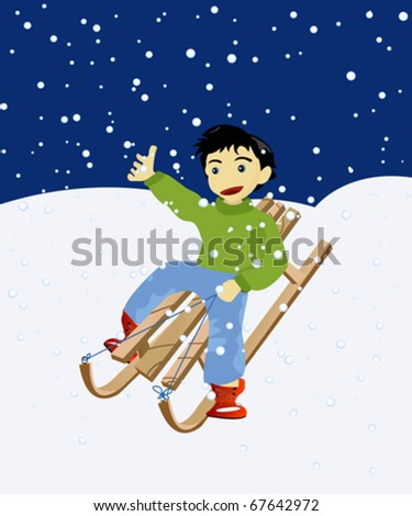 Happy kid on a wooden snow sledge - stock vector