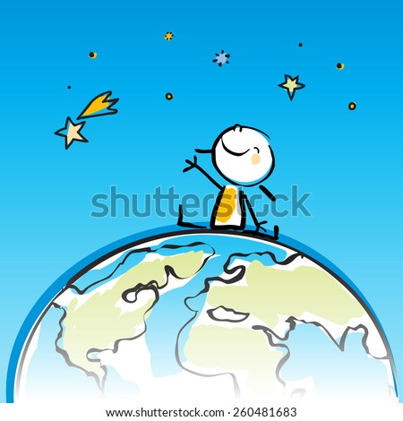 happy kid sitting on top of the globe, peace on earth concept in children's drawing style series. Vector line art, doodle style sticky figure. - stock vector