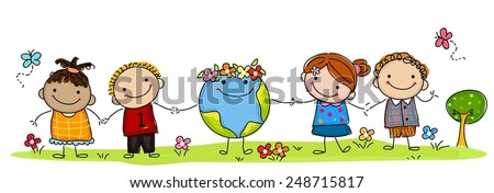Happy kids and earth - stock vector