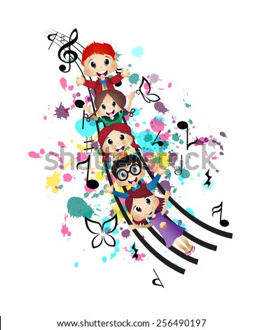 Happy Kids and Music - stock vector
