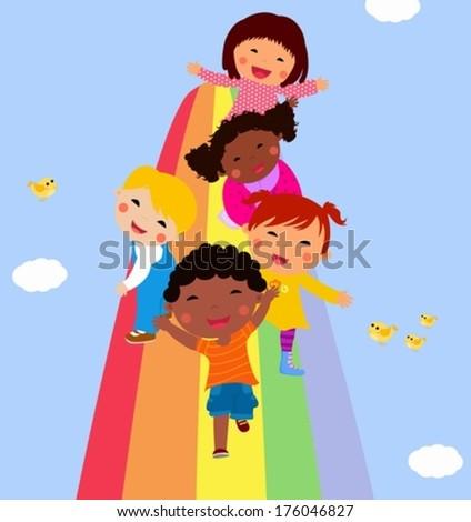 Happy kids and rainbow - stock vector