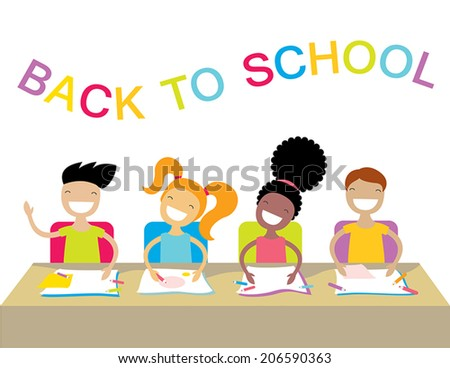 Happy kids at school lesson. Back to school theme.  Vector cartoon characters. - stock vector
