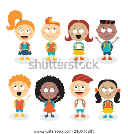 Happy kids cartoon characters isolated on white background. Back to school theme. Vector illustration - stock vector