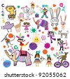 Happy kids. Circus, birthday, party. Joyful ornament in the style of children's drawings. - stock vector