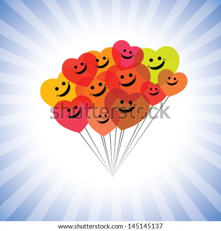 happy kids faces(hearts) as flying kites- simple vector graphic. This illustration can also represent play school children being merry & having fun, school kids play time, happy people laughing, etc - stock vector