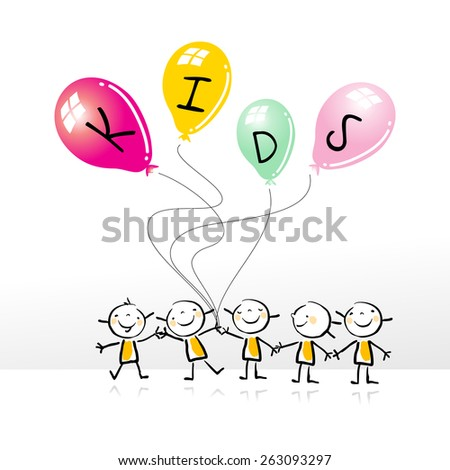 Happy kids group, holding colorful balloons, doodle style, sketchy vector illustration. Kids playing. - stock vector