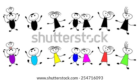 Happy kids-Group of children playing and  jumping- Vector illustration - stock vector