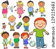 Happy kids, hand drawn children isolated, sketch - stock vector