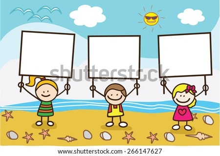 happy kids holding banner when summer beach - stock vector