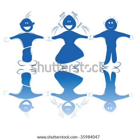 Happy kids holding hands - stock vector