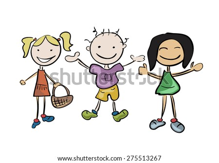 Happy Kids Illustration: Vector - stock vector