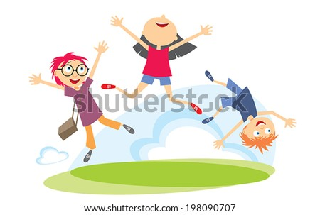 Happy Kids Jumping - stock vector