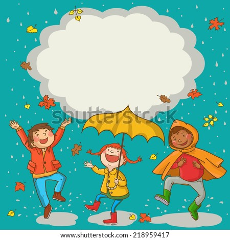 Happy Kids playing Kids jumping around placard with umbrella under the rain. Autumn background. Great Isolated objects can be use for school children book , advertising , post cards and etc. VECTOR. - stock vector