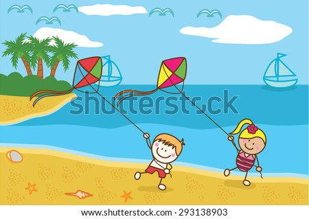 Happy kids playing kite at Beach - stock vector
