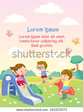 happy kids playing on a playground - stock vector