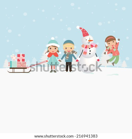 Happy kids playing with snow. Can be used for retro christmas card. Vector illustration. - stock vector