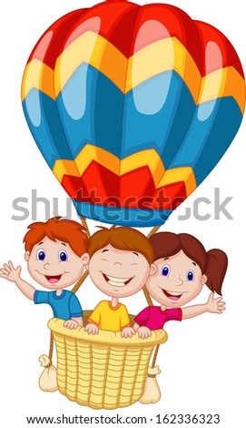 Happy kids riding a hot air balloon - stock vector