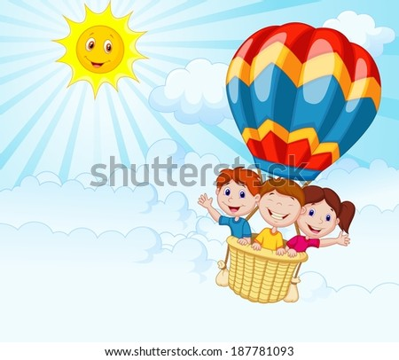 Happy kids riding a hot air balloon - stock vector