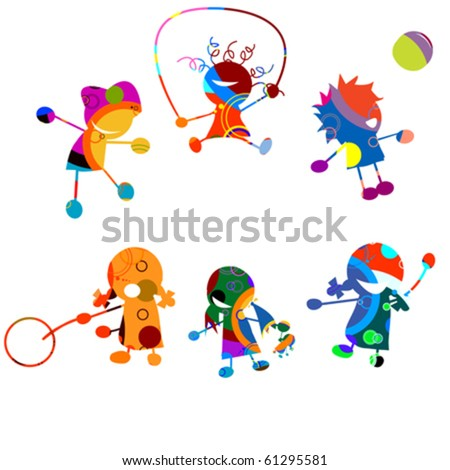 Happy kids, stylized drawing over white background - stock vector