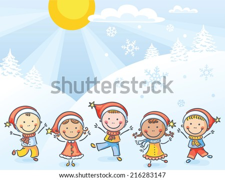 Happy kids with Christmas hats - stock vector