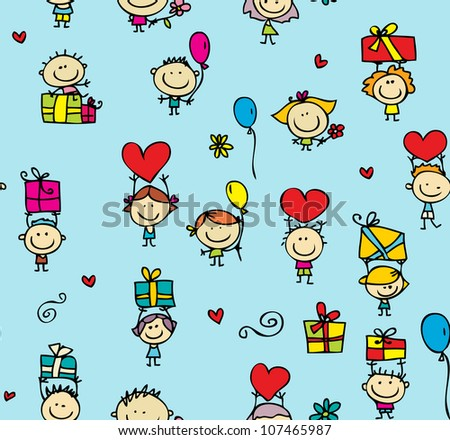 Happy kids with presents seamless background - stock vector